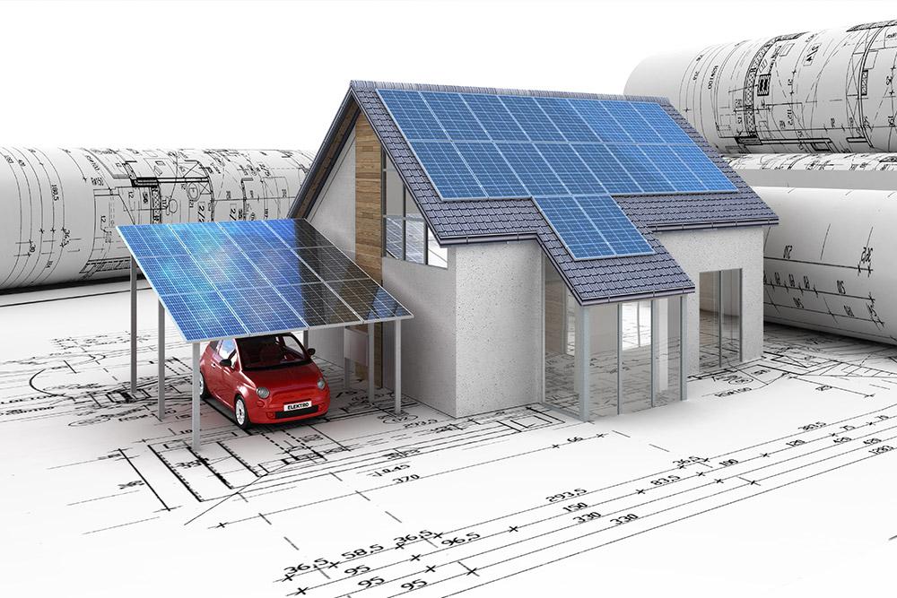 Solar-Carport mit Solarmodulen auf einem Konstruktionsplan