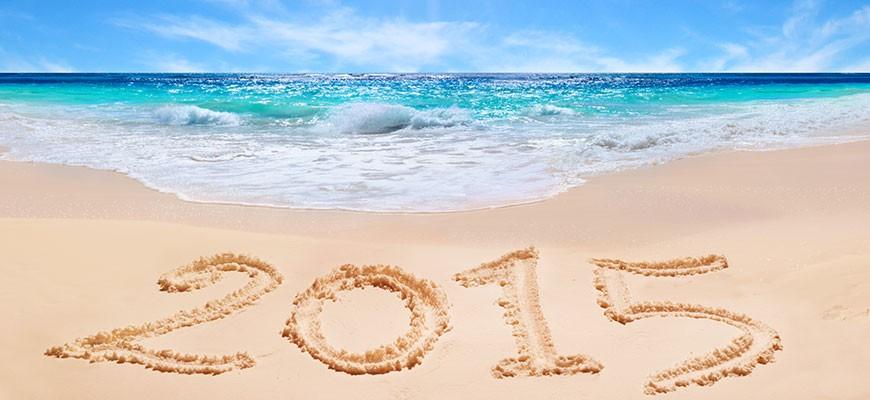 2015 in the sand on a sunny beach