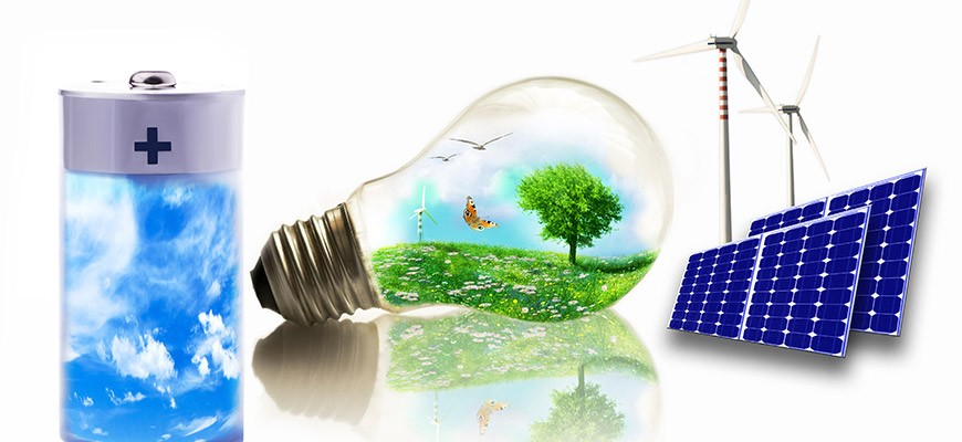 Nature in a light bulb, the sky in a battery as well as wind turbines and solar energy with solar modules
