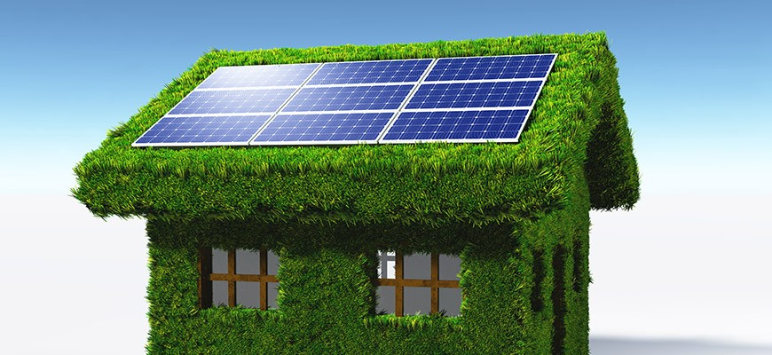Green house with a solar panel system on the roof